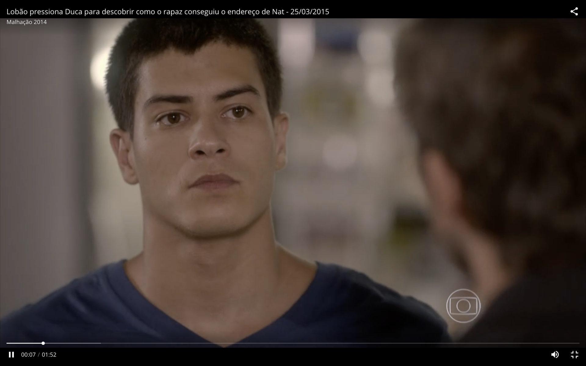Malhação Sonhos - Lobão (Marcelo Faria) confronta Duca (Arthur Aguiar) sobre o paradeiro de Nat (Maria João)