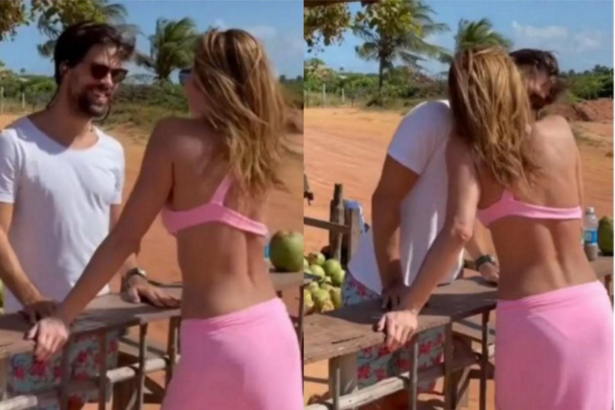 Luciana Gimenez beija novo namorado na praia