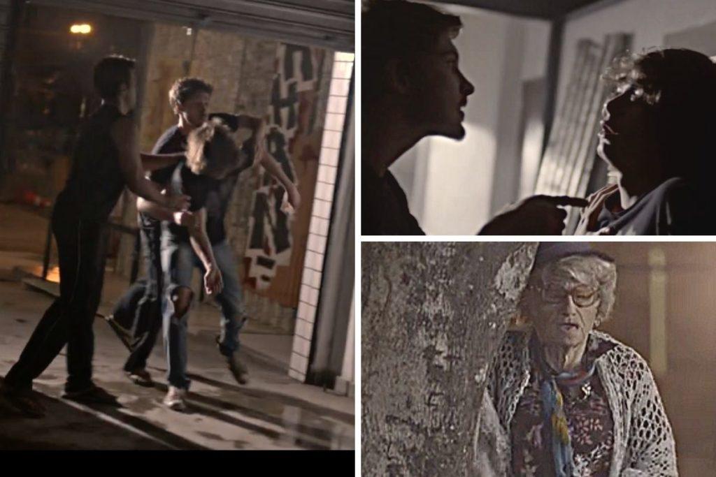 Malhação- Disfarçado de velhinhas, Gael (Eriberto Leão) vê Luiz (Mauricio Pitanga) e Diego atacarem Pedro (Rafael Vitti)