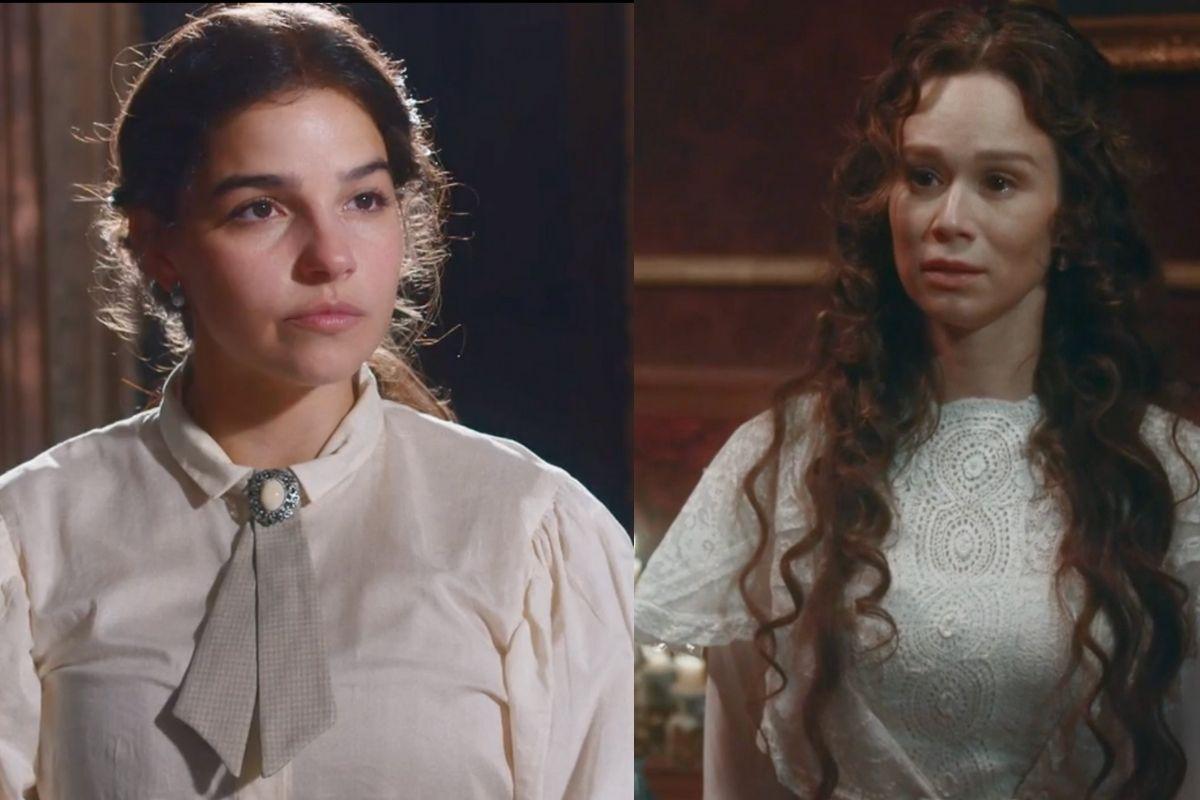 Nos Tempos do Imperador: Luisa (Mariana Ximenes) e Pilar (Gabriela Medvedovski)