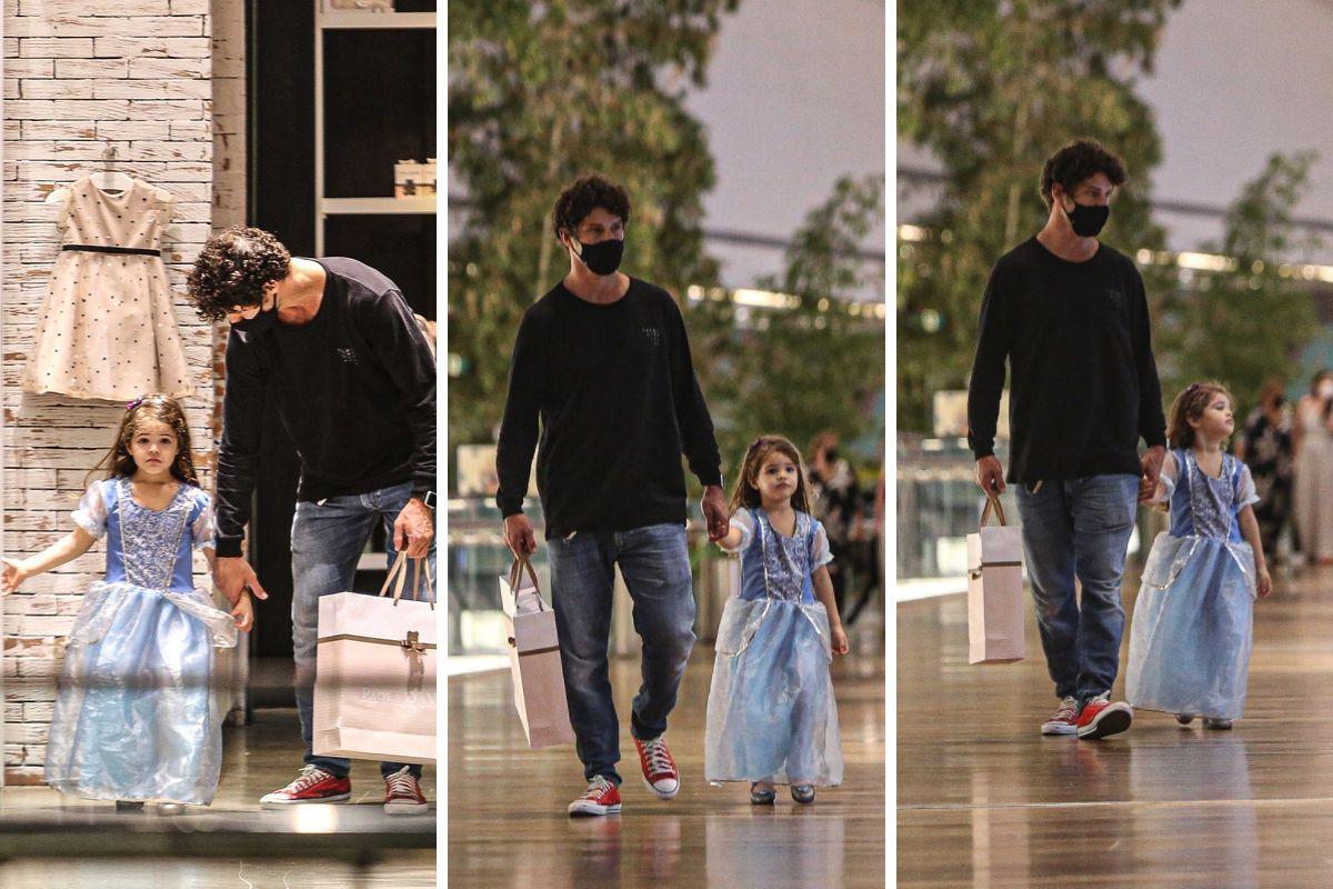 José Loreto passeia com filha Bella em shopping