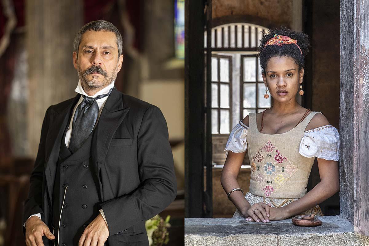 Tonico (Alexandre Nero) e Zayla (Heslaine Vieira) em Nos Tempos do Imperador