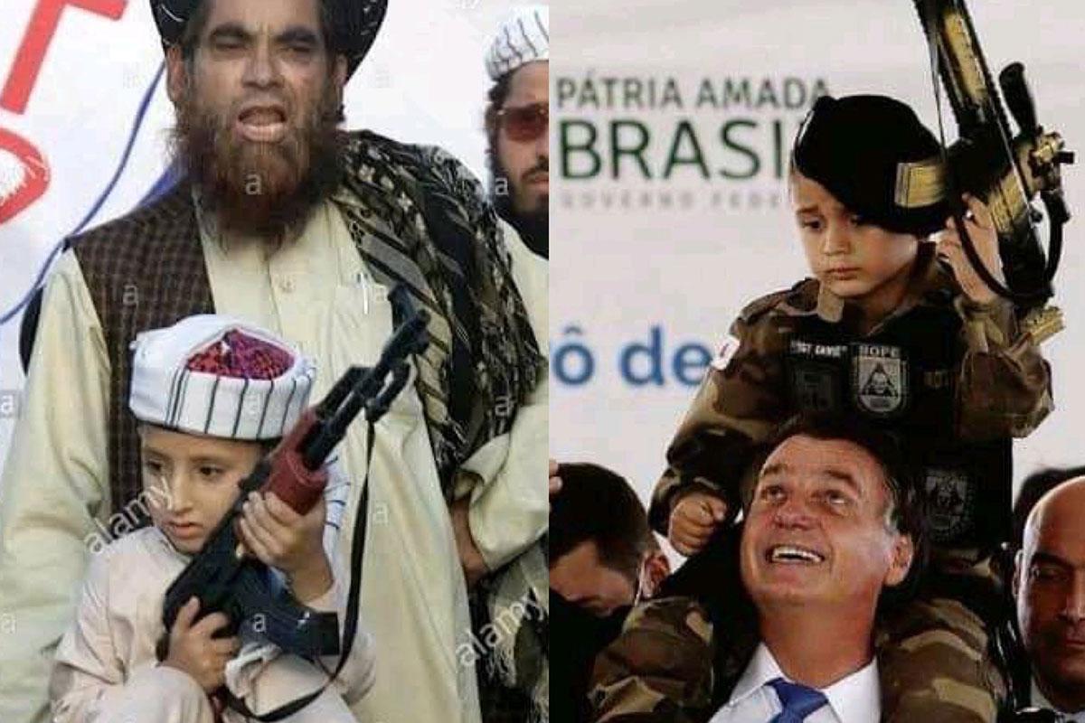 Fotomontagem Jair Bolsonaro e membro do Talibã