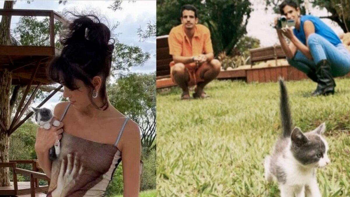 Bruna Marquezine e Enzo Celulari com gata que adotaram
