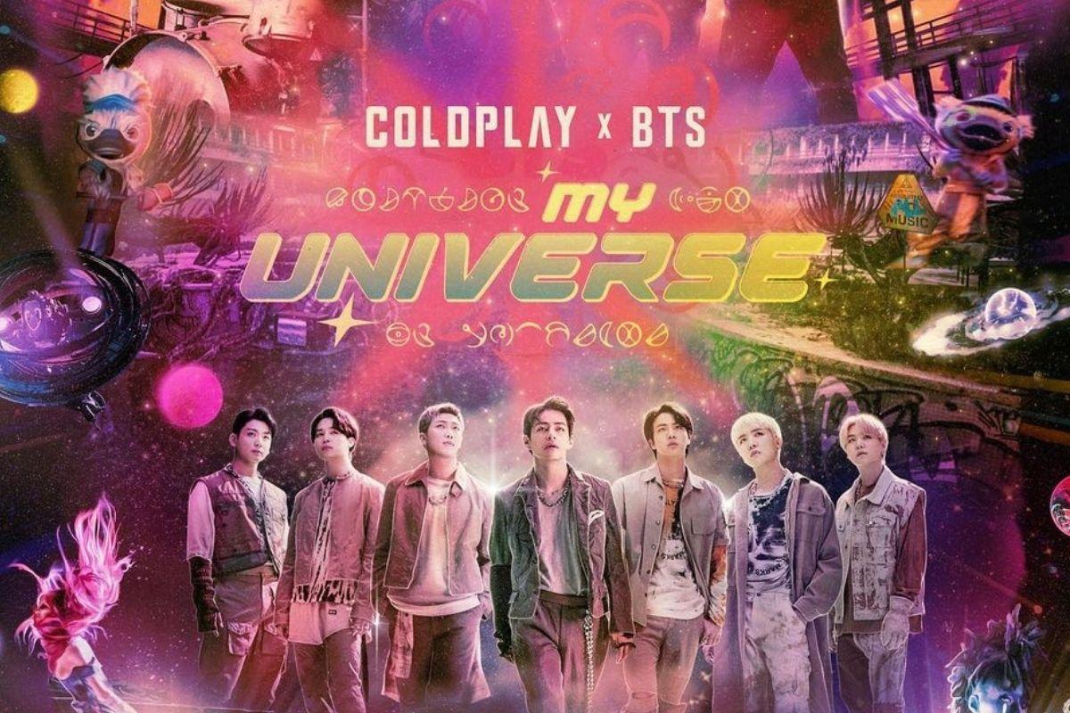 Capa de divulgação da música My Universe, parceria de Coldplay e BTS