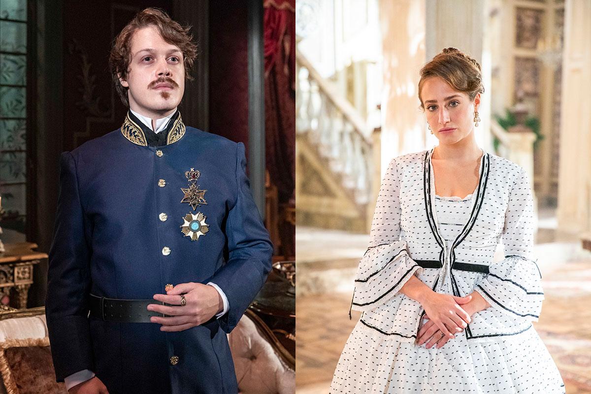 Gastão (Daniel Torres) e Leopoldina (Bruna Griphao) em Nos Tempos do Imperador