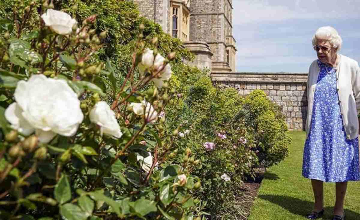 Rainha Elizabeth II no jardim