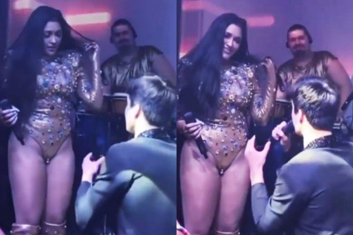 Pedro Maia se ajoelha para pedir Flay em casamento