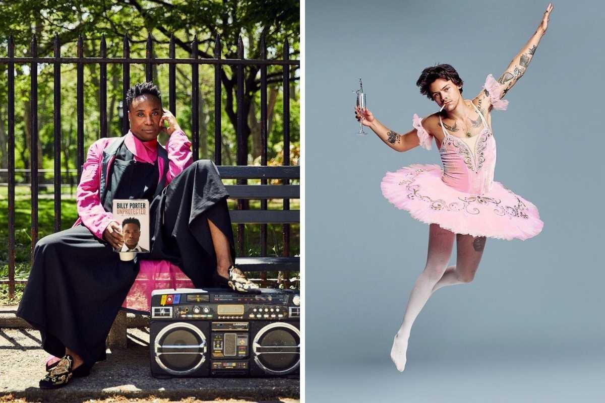 fotomontagem de billy porter usando vestido longo e harry styles posando de bailarina