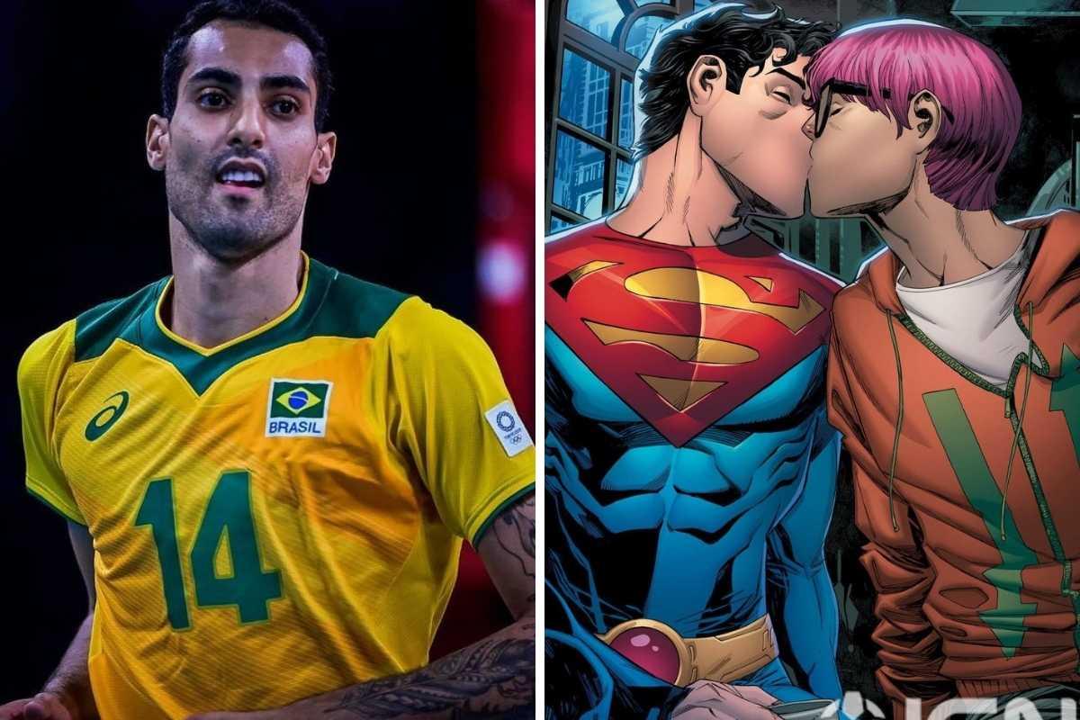 fotomontagem de douglas souza jogando vôlei nas olimpíadas e do quadrinho com jon kent e jay nakamura se beijando