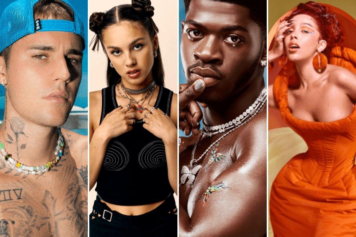 Fotomontagem com registro de Justin Bieber, Olivia Rodrigo, Lil Nas X e Doja Cat