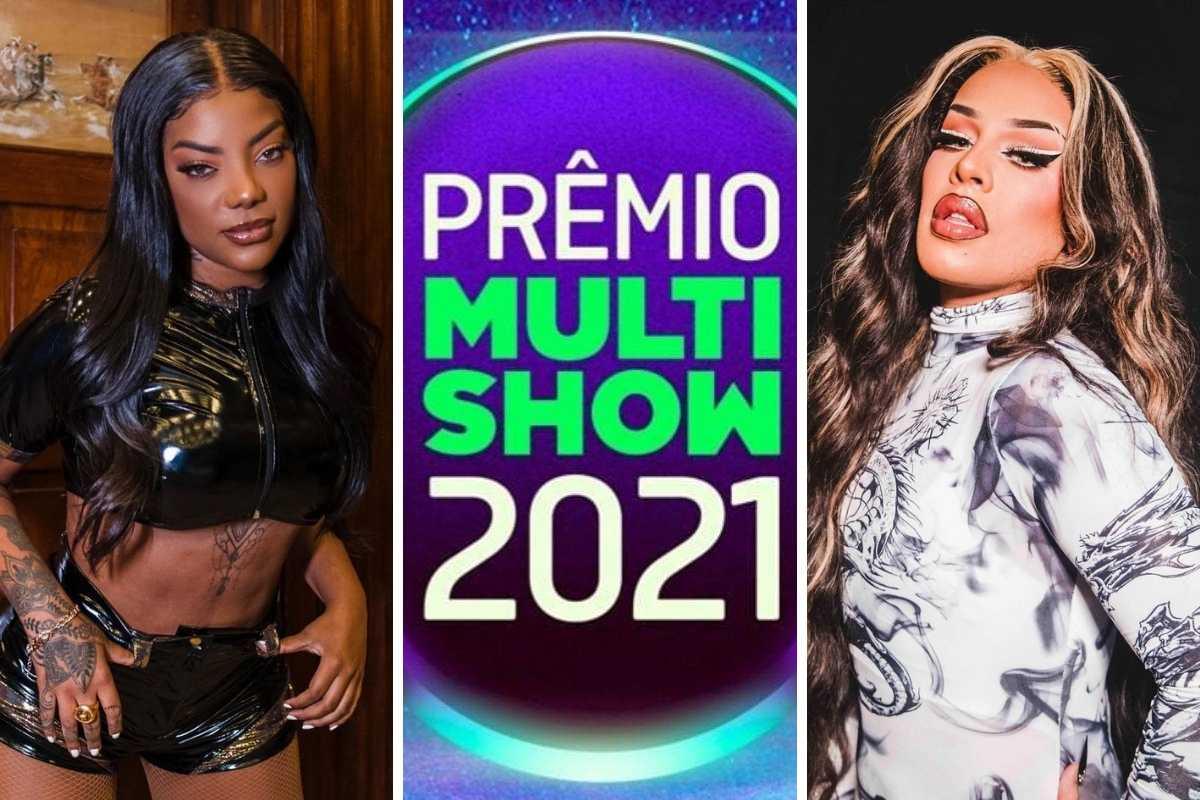fotomontagem de ludmilla e gloria groove posando estilosas com logo do prêmio multishow 2021 no meio