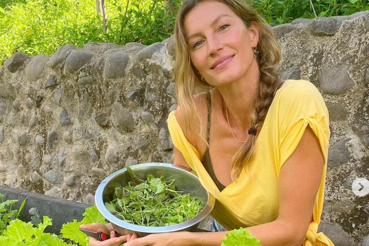 Gisele Bündchen exibe sua bela horta