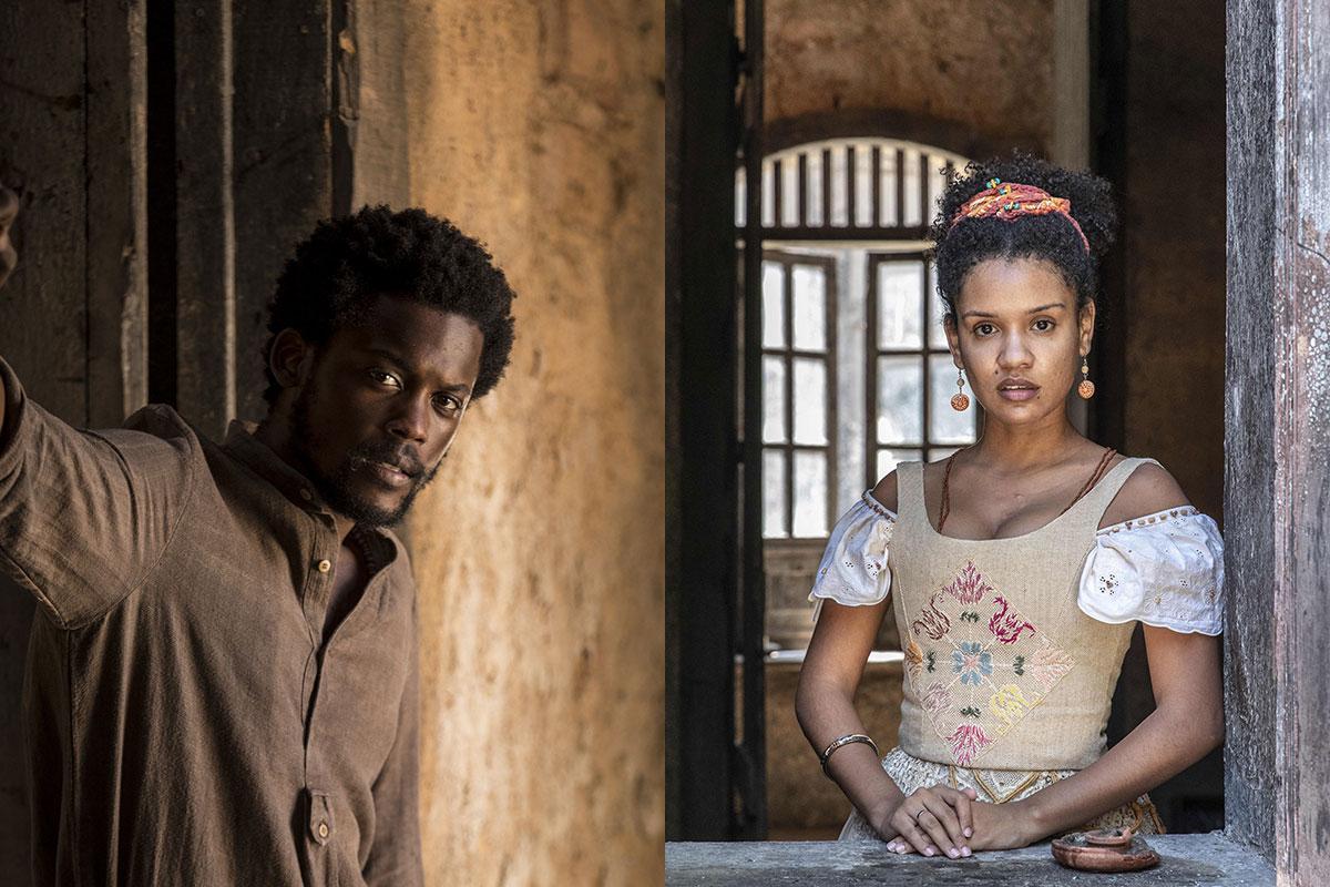 Guebo (Maicon Rodrigues) e Zayla (Heslaine Vieira), em Nos Tempos do Imperador