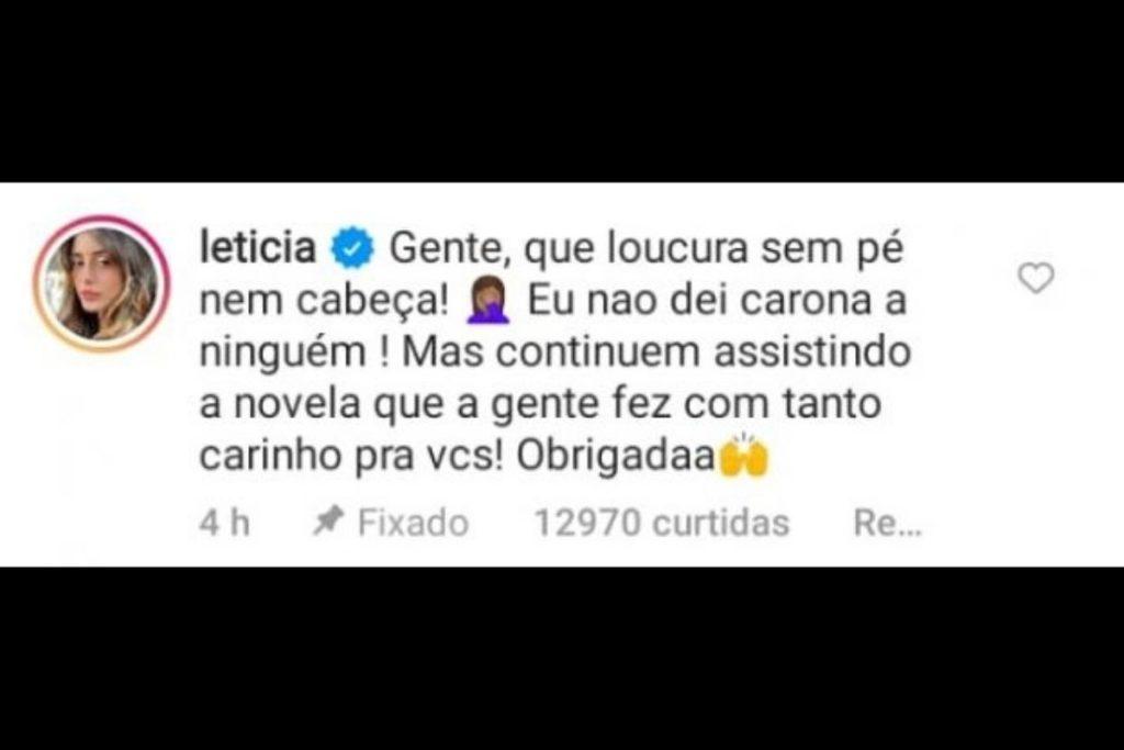 Letícia Almeida desmente carona para Juliano Laham