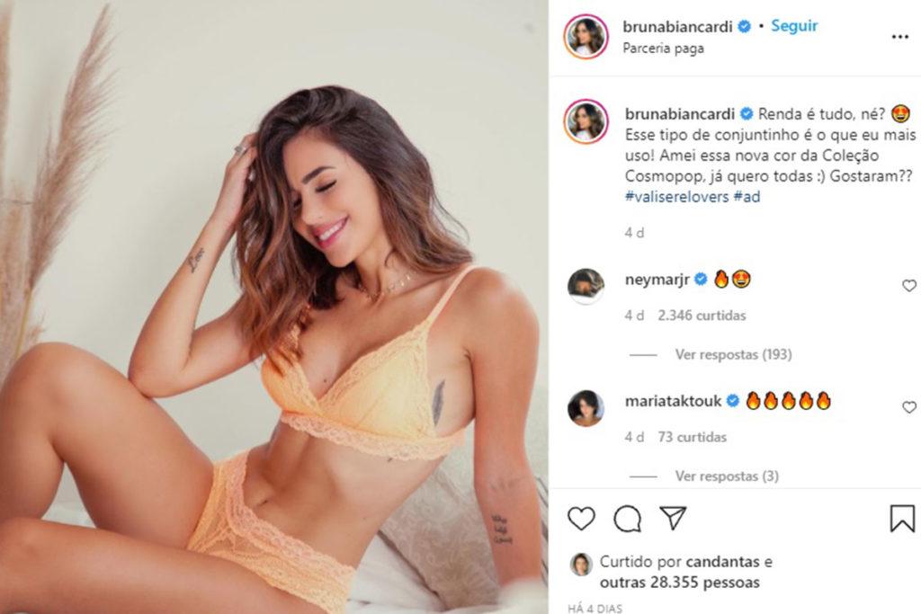 Neymar comenta foto de Bruna Biancardi, seu possível affair