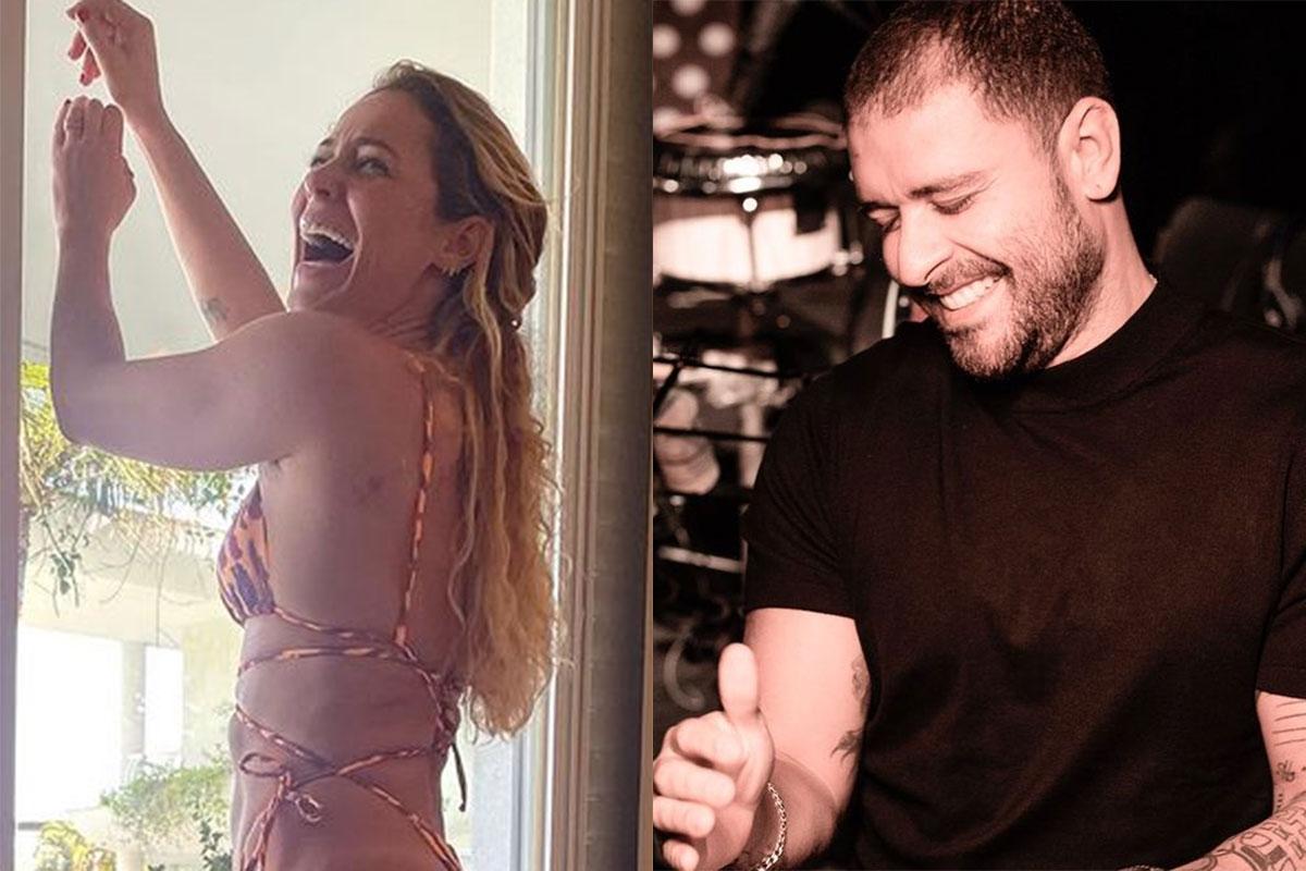 Paolla Oliveira de biquíni e Diogo Nogueira sorrindo