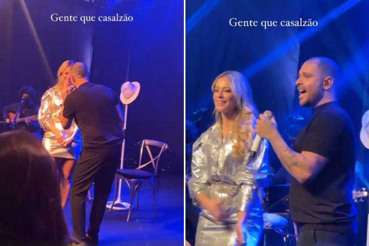 Paolla Oliveira e Diogo Nogueira em show durante evento de beleza