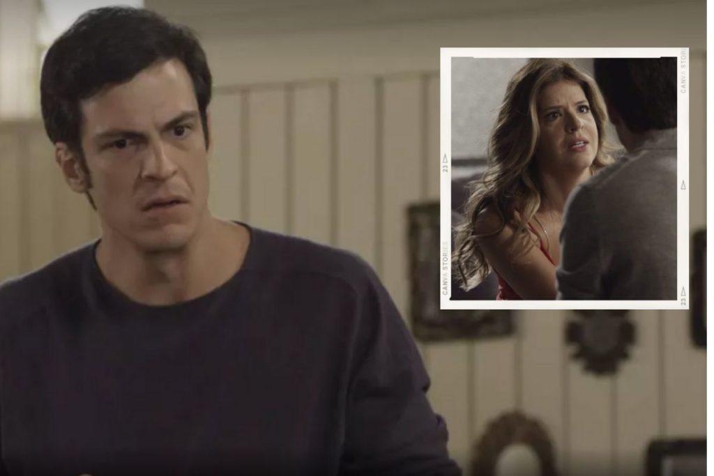 Pega Pega: Eric (Mateus Solano) comenta com Maria Pia (Mariana Santos) que teme perder o amor de Bebeth (Valentina Herszage)