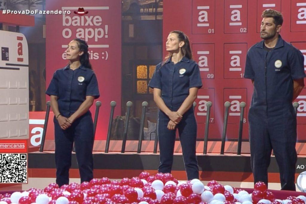 Dayane Mello, Aline Mineiro e Victor Pecoraro disputaram a Prova do Fazendeiro