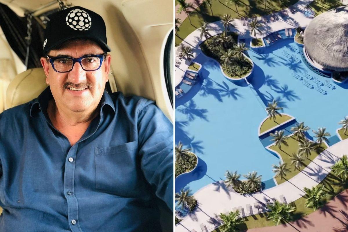 Selfie de Ratinho e imagem digital de resort em fotomontagem