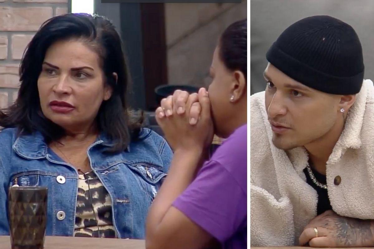 Solange Gomes, Taty Quebra Barraco e MC Gui conversando na cozinha de A Fazenda