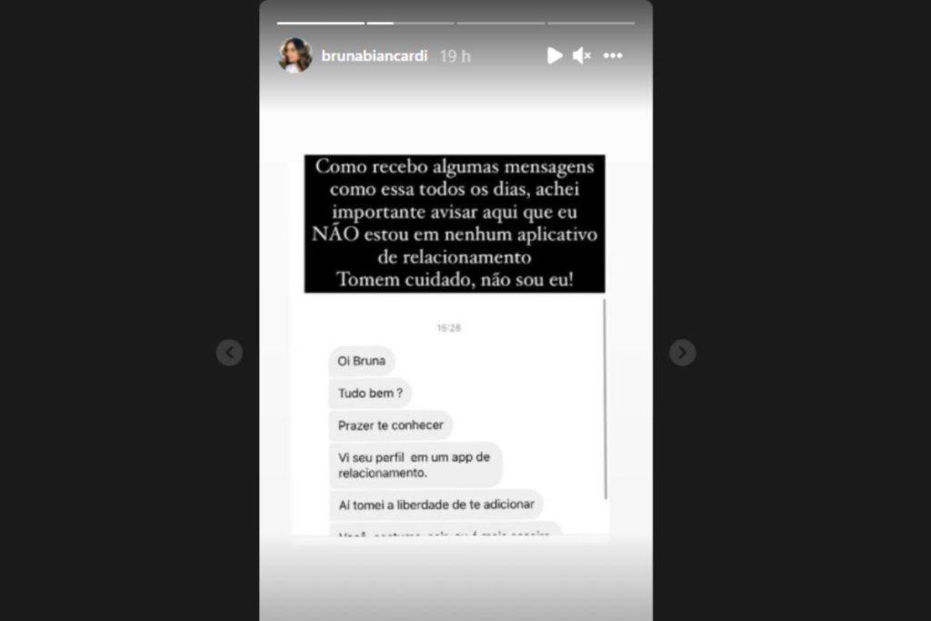 stories de bruna biancardi negando perfil em aplicativo de paquera