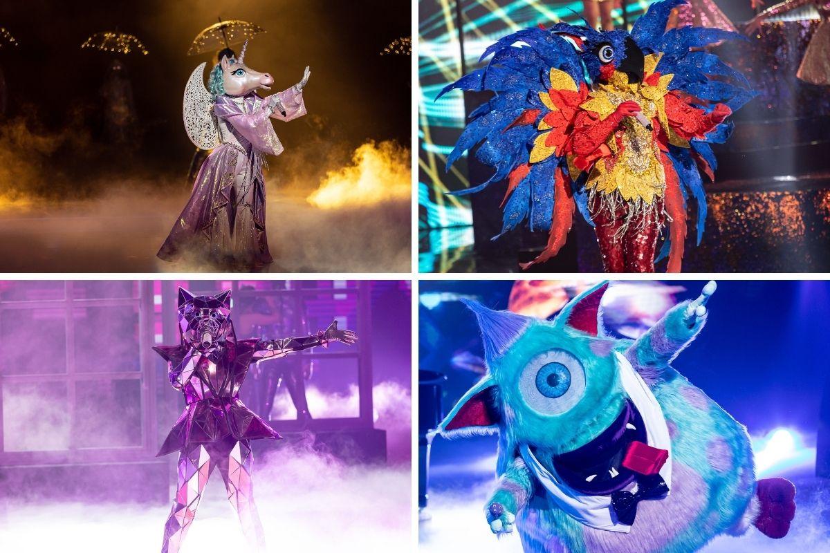 Unicórnio, Arara, Monstro e Gata Espelhada, personagens do The Masked Singer Brasil