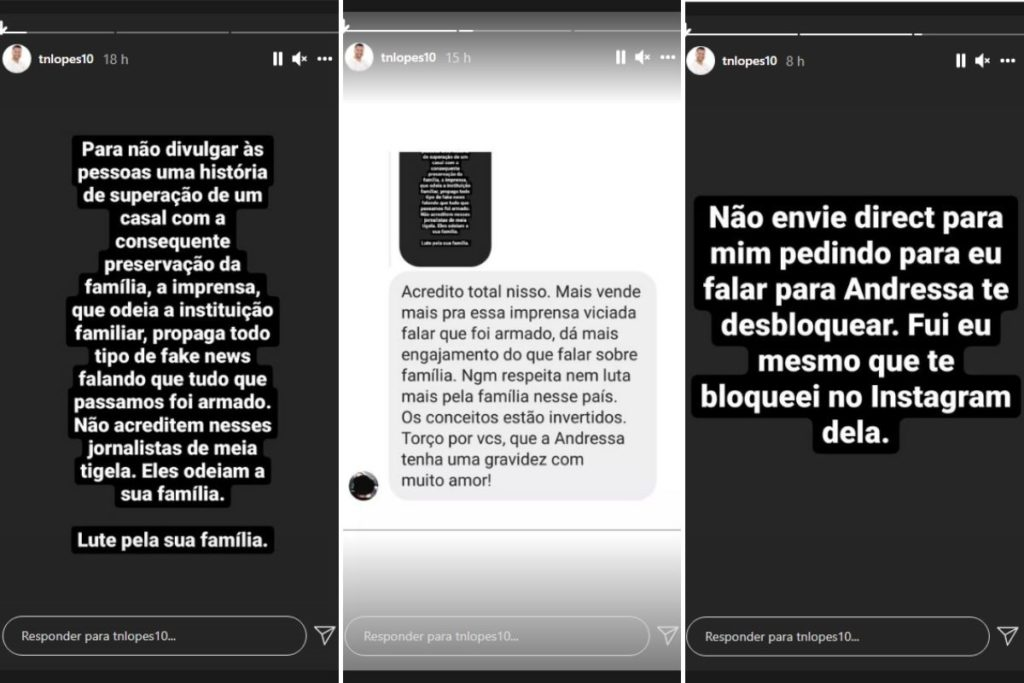 Thiago Lopes, marido de Andressa Urach, faz desabafos em Stories do Instagram