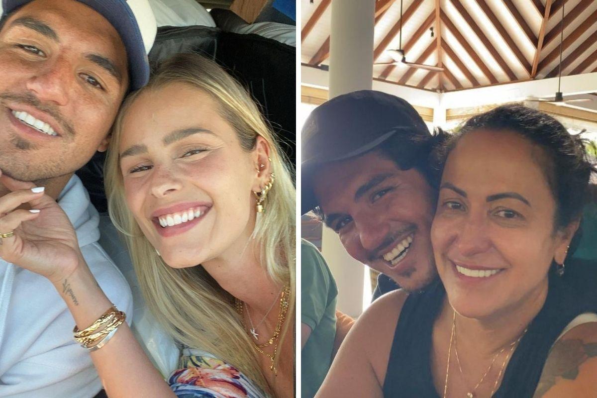 Yasmin Brunet sorridente com Gabriel Medina e Simone Medina com o filho